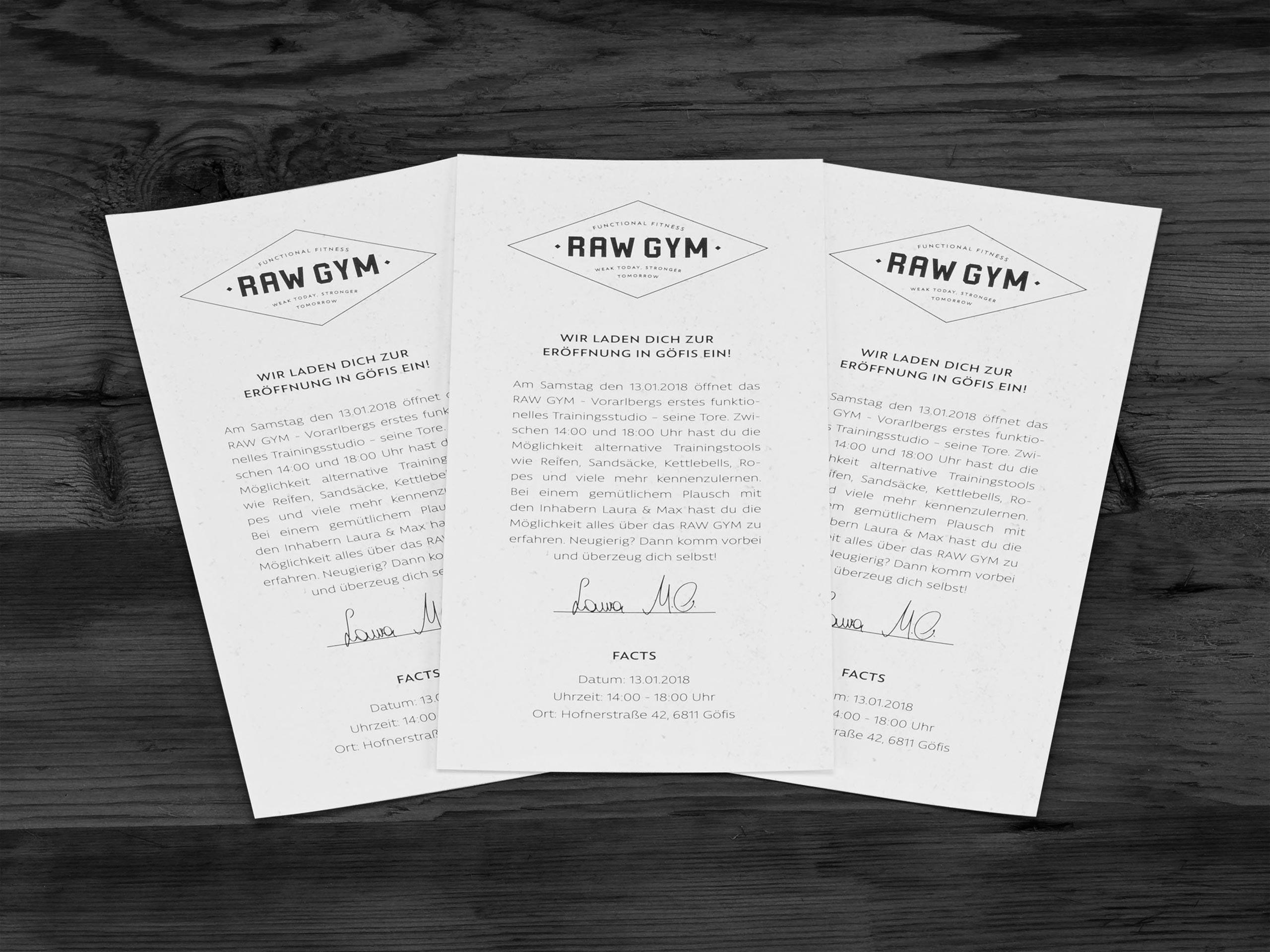 RAW Gym – Flyer zur Eröffnung
