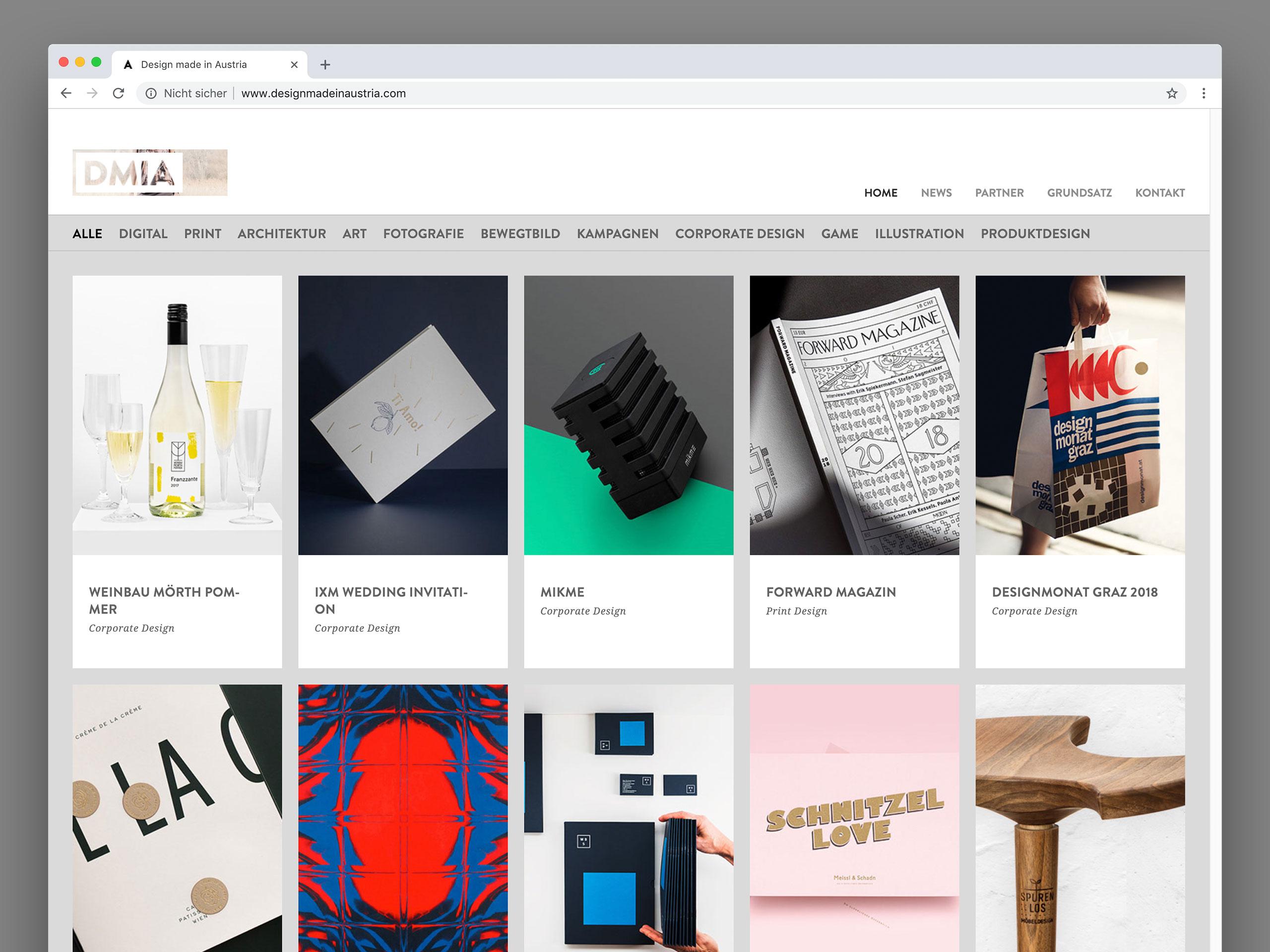 Design made in Austria – Website – Plattform