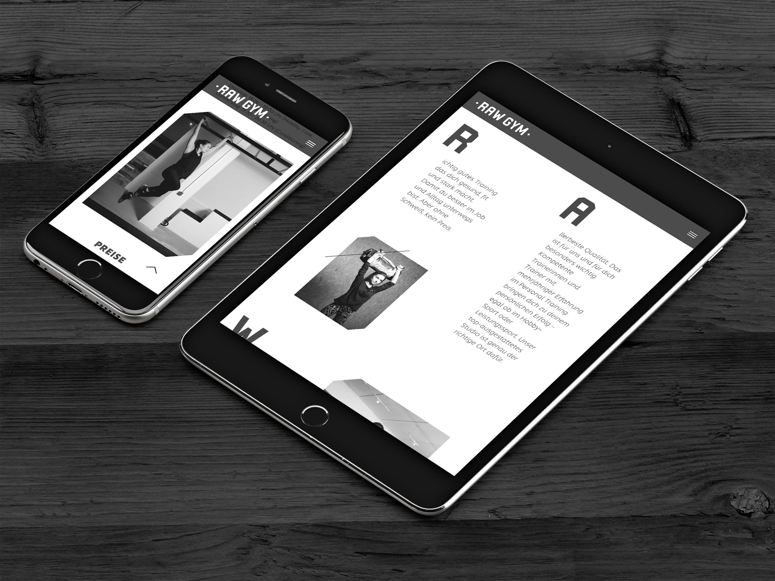 RAW Gym – Corporate Design – Website mobile