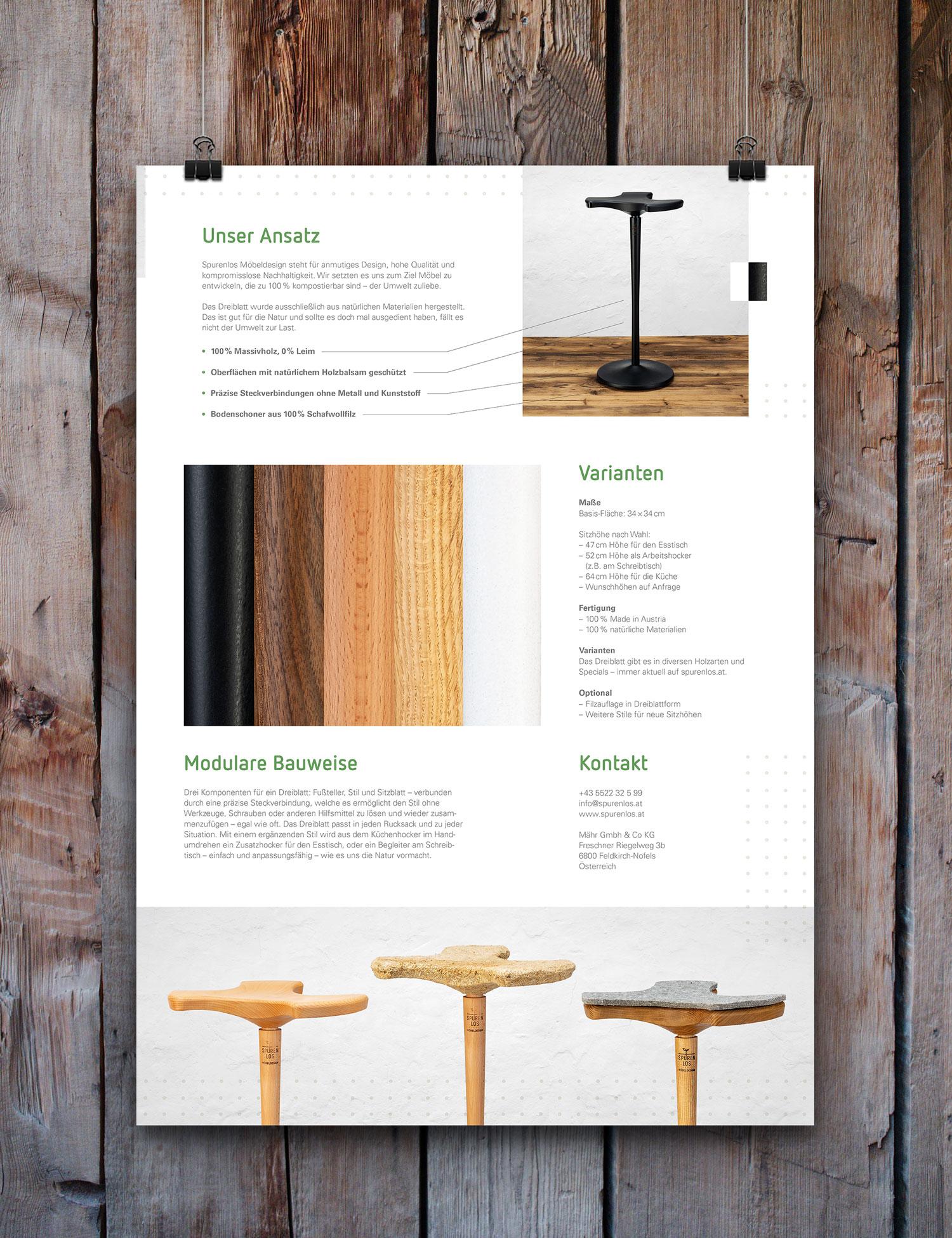 Spurenlos Möbeldesign – Poster Rückseite