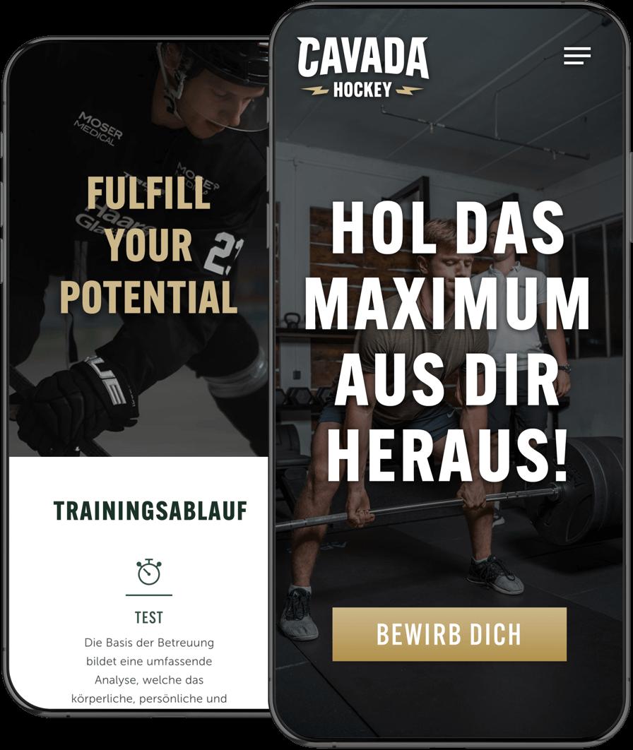 Cavada Hockey – Website am Smartphone