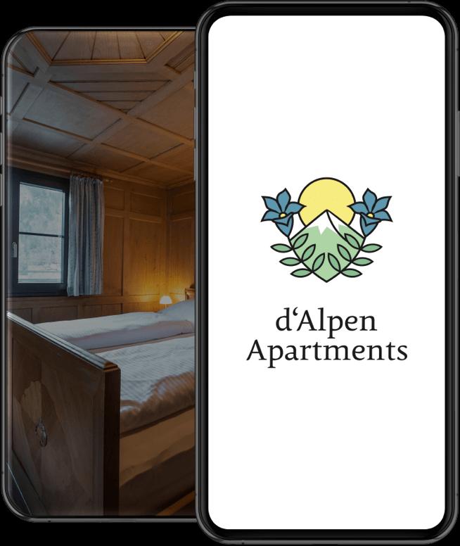 d'Alpen Apartments – Logo am Smartphone