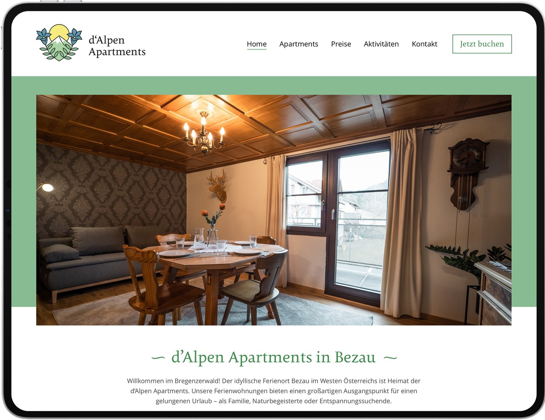 d'Alpen Apartments – Website am Tablet