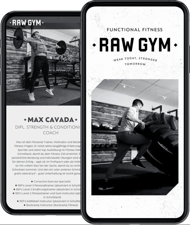 RAW GYM – Website am Smartphone